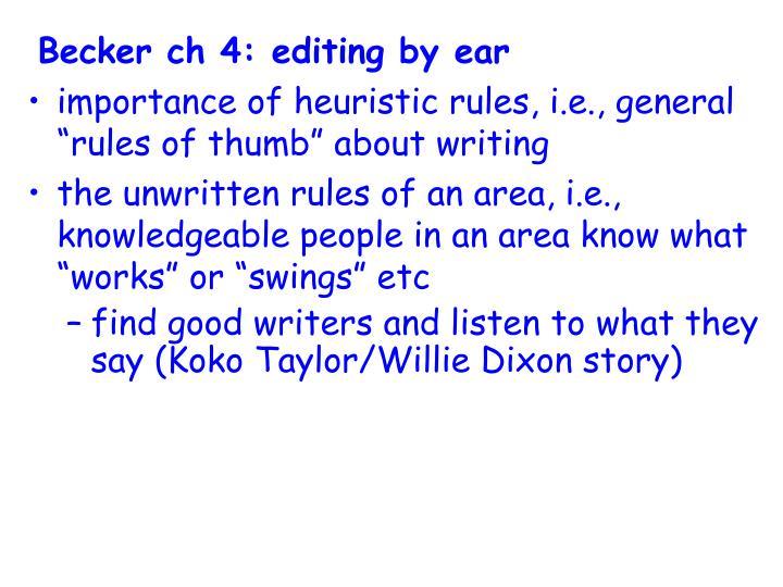 Becker ch 4: editing by ear