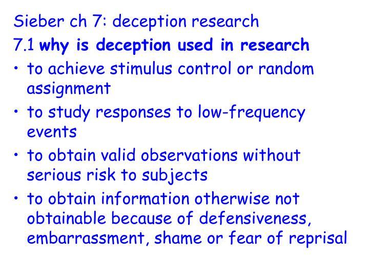 Sieber ch 7: deception research