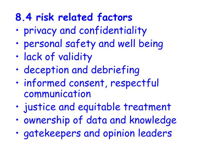 8.4 risk related factors