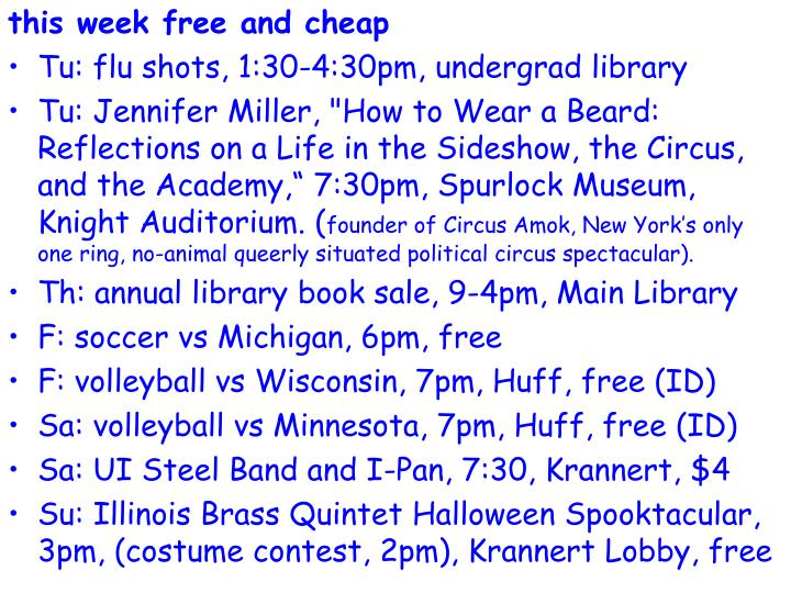 this week free and cheap