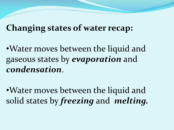 Changing states of water recap: