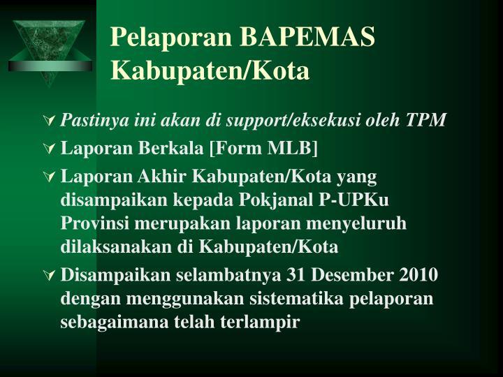 Pelaporan BAPEMAS Kabupaten/Kota