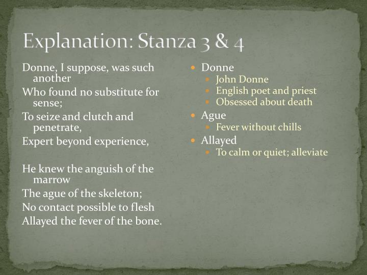 Explanation: Stanza 3 & 4