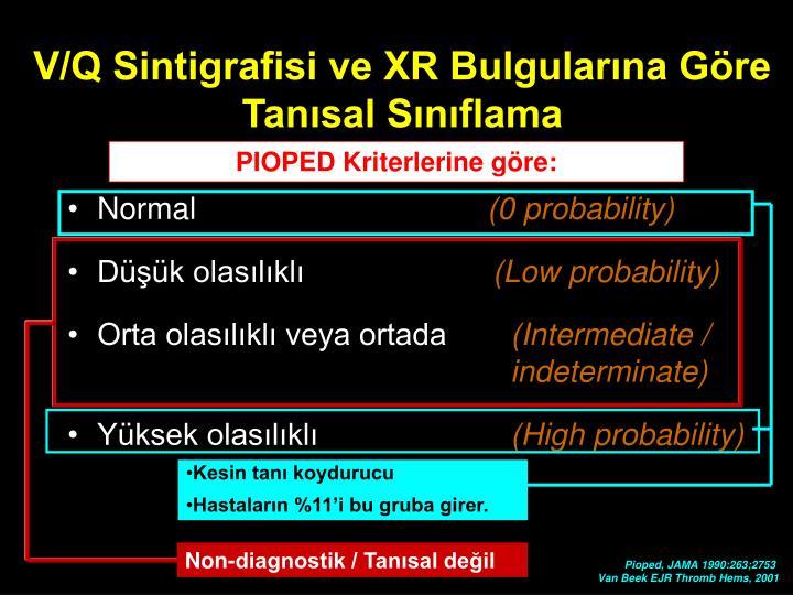 V/Q Sintigrafisi ve XR Bulgularına Göre Tanısal Sınıflama