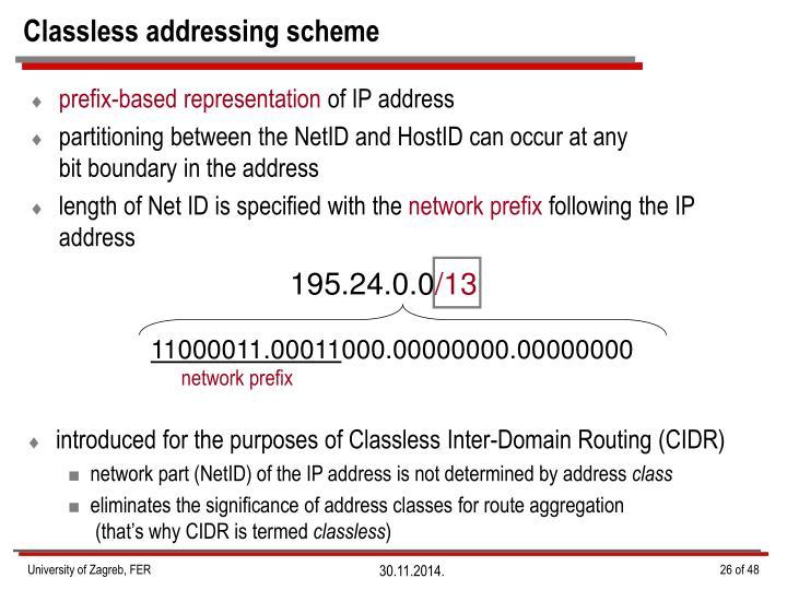 Classless addressing scheme
