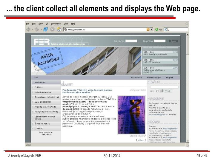 ... the client collect all elements and displays the Web page.