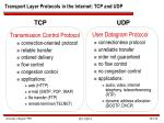 transport layer protocols in the internet tcp and udp
