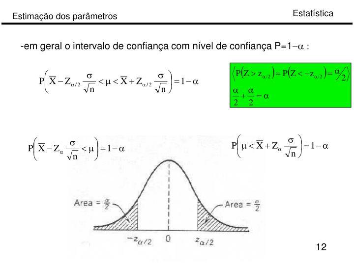 -em geral o intervalo de confiança com nível de confiança P=1