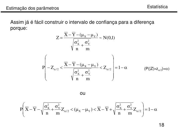 Assim já é fácil construir o intervalo de confiança para a diferença porque: