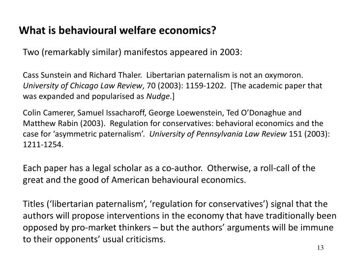 What is behavioural welfare economics?