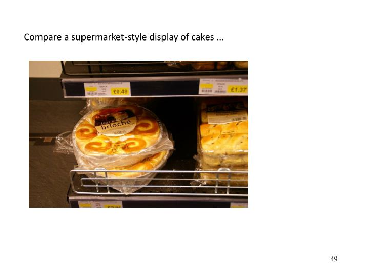 Compare a supermarket-style display of cakes ...