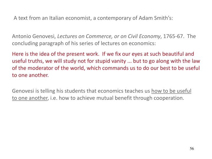 A text from an Italian economist, a contemporary of Adam Smiths: