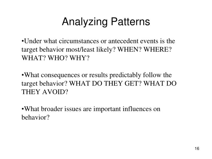 Analyzing Patterns