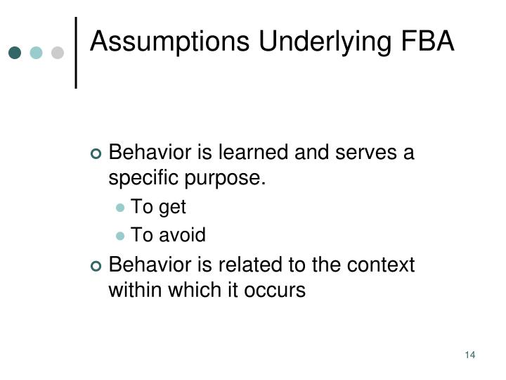 Assumptions Underlying FBA