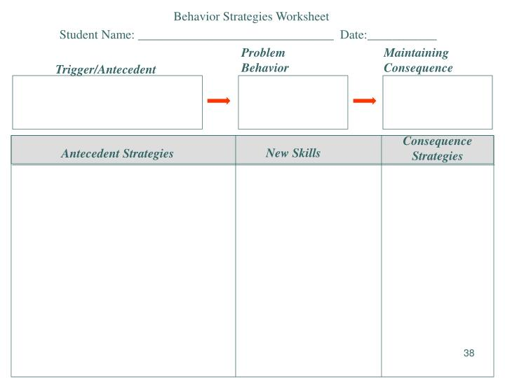 Behavior Strategies Worksheet