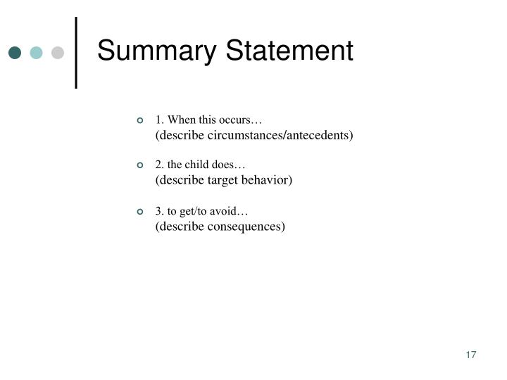 Summary Statement