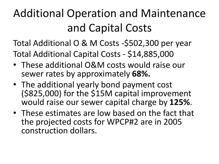Additional Operation and Maintenance and Capital Costs