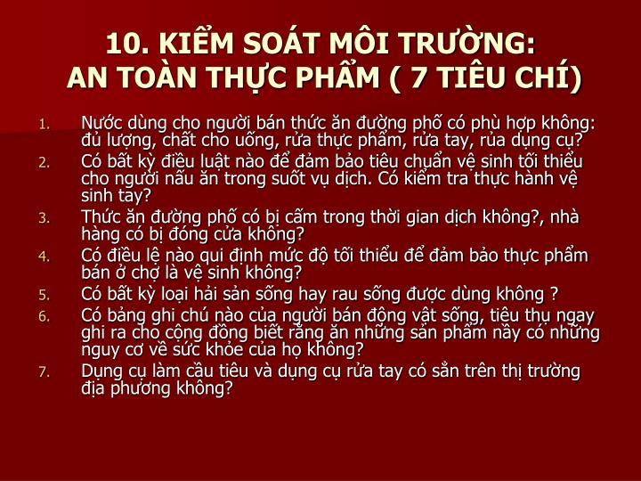 10. KIỂM SOÁT MÔI TRƯỜNG: