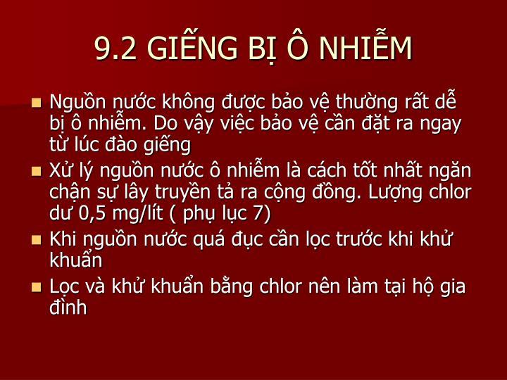 9.2 GIẾNG BỊ Ô NHIỄM