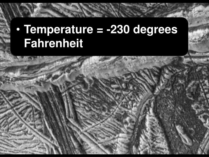 Temperature = -230 degrees Fahrenheit