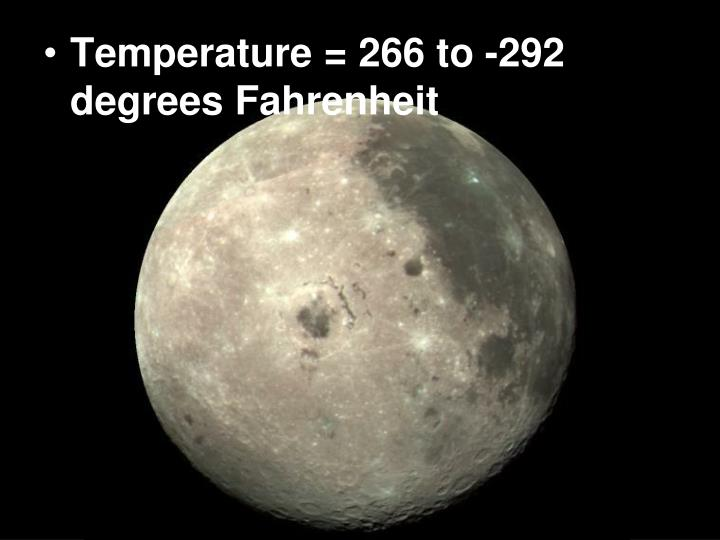 Temperature = 266 to -292 degrees Fahrenheit