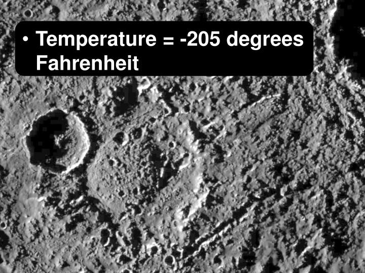 Temperature = -205 degrees Fahrenheit