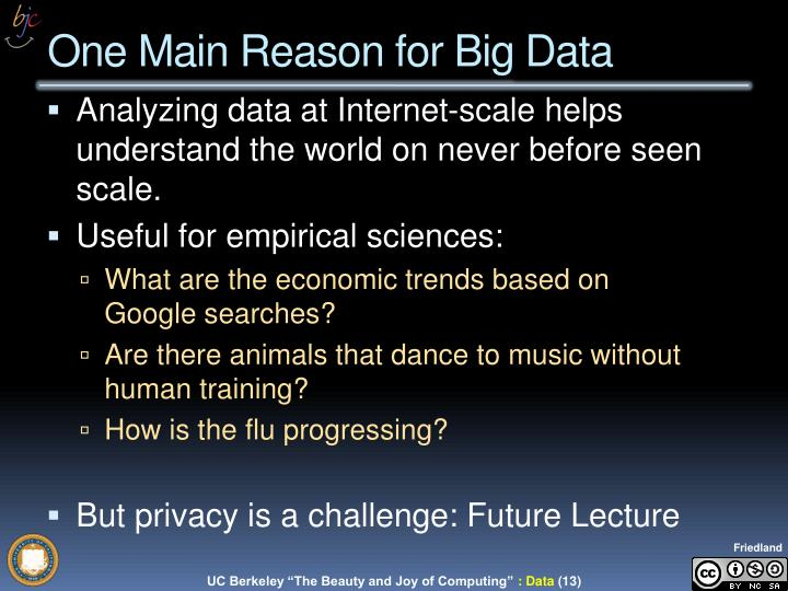 Analyzing data at Internet-scale helps understand the world on never before seen scale.