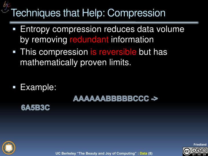 Entropy compression reduces data volume by removing