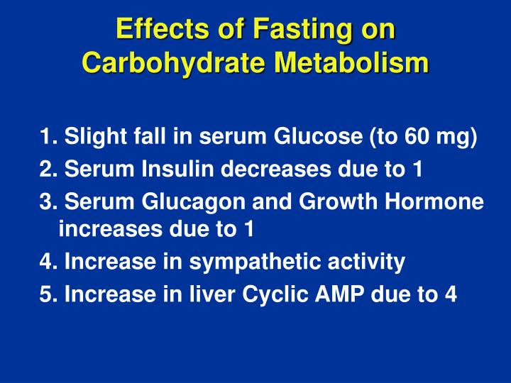 Effects of Fasting on Carbohydrate Metabolism
