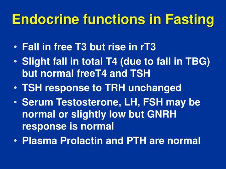 Endocrine functions in Fasting