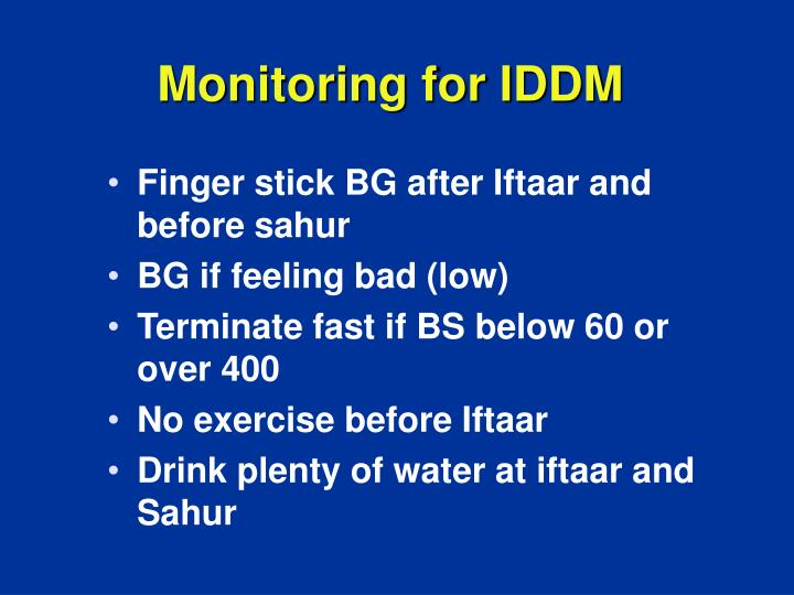 Monitoring for IDDM