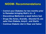 niddm recommendations