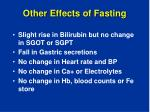 other effects of fasting