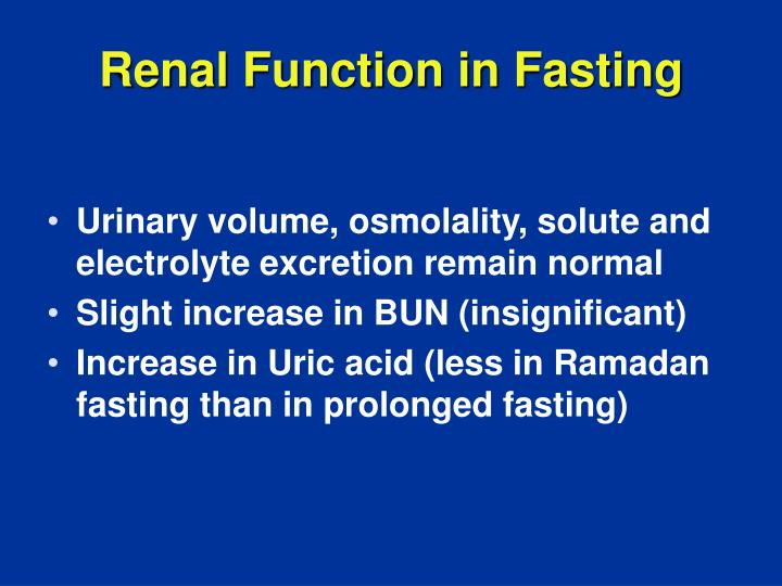 Renal Function in Fasting