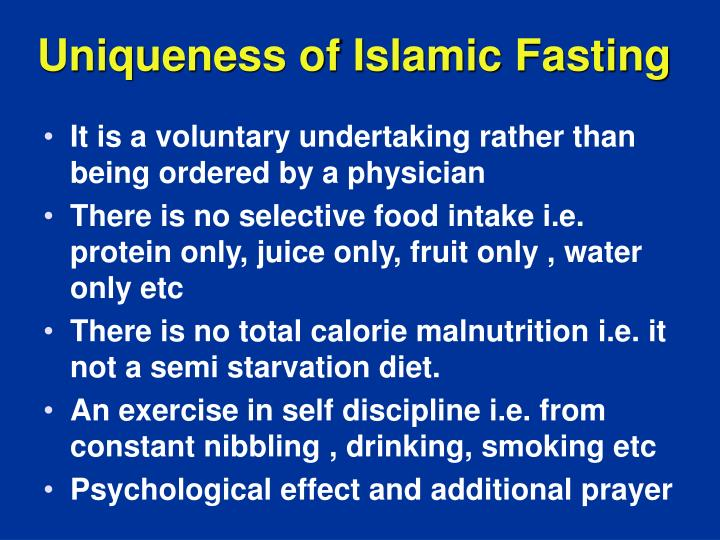 Uniqueness of Islamic Fasting