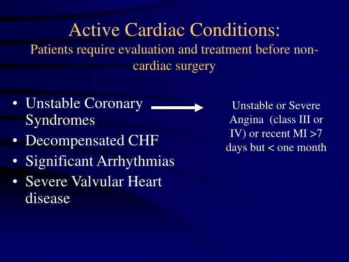 Active Cardiac Conditions: