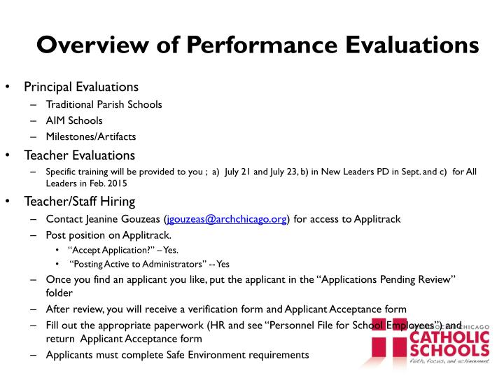Overview of Performance Evaluations