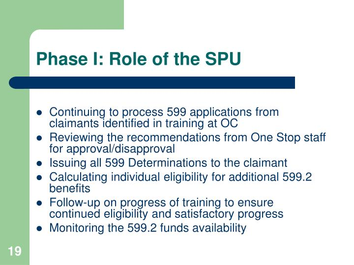 Phase I: Role of the SPU