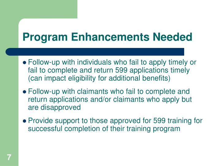 Program Enhancements Needed