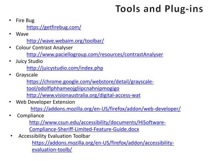 Tools and Plug-ins