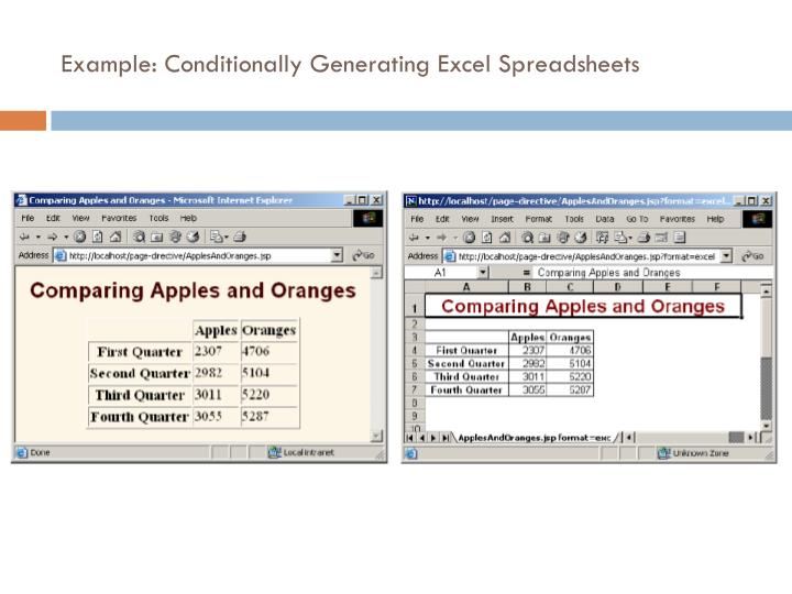 Example: Conditionally Generating Excel Spreadsheets