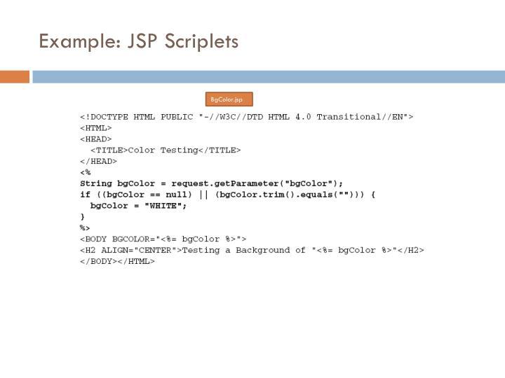 Example: JSP Scriplets