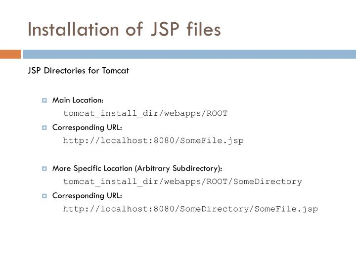 Installation of JSP files