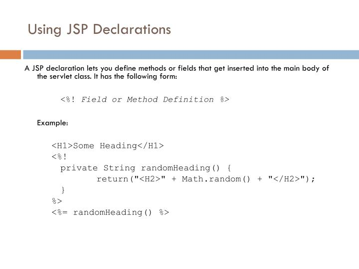 Using JSP Declarations