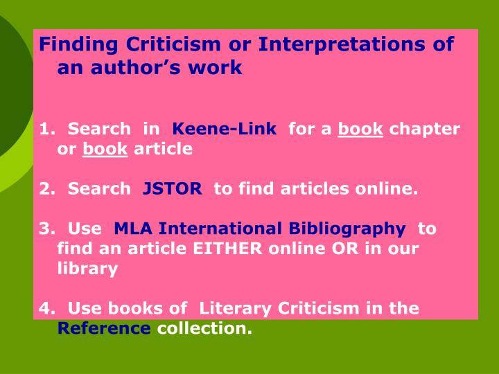 Finding Criticism or Interpretations of an author's work
