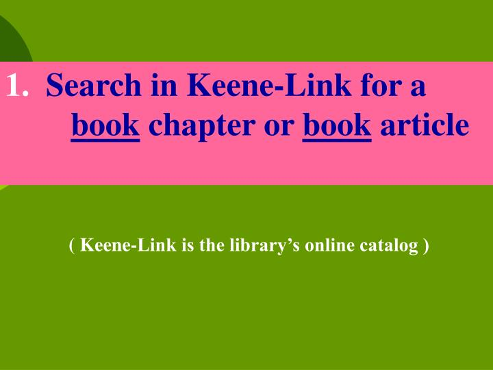 Search in Keene-Link for a