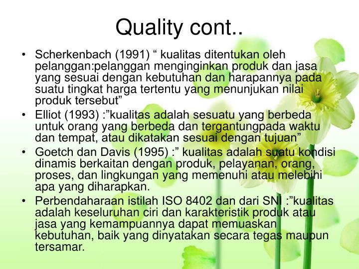 Quality cont..
