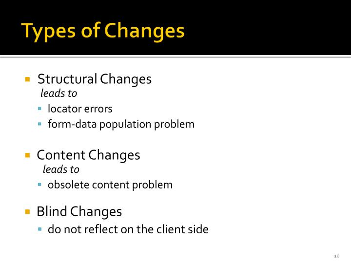 Types of Changes