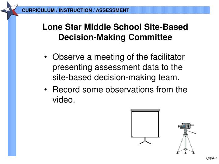 •Observe a meeting of the facilitator presenting assessment data to the site-based decision-making team.