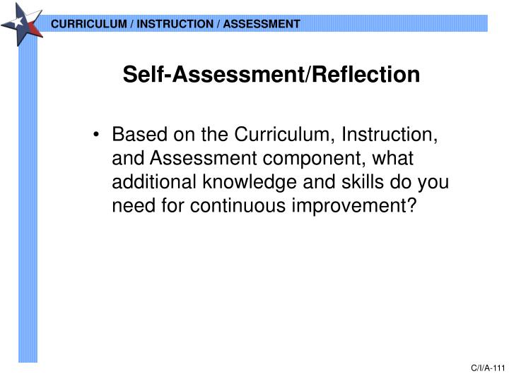 Self-Assessment/Reflection